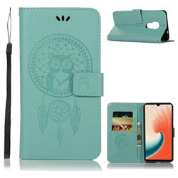 Intricate Embossing Owl Campanula Leather Wallet Case for Huawei Mate 20 - Green