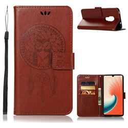 Intricate Embossing Owl Campanula Leather Wallet Case for Huawei Mate 20 - Brown
