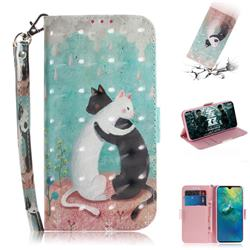 Black and White Cat 3D Painted Leather Wallet Phone Case for Huawei Mate 20