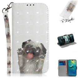 Pug Dog 3D Painted Leather Wallet Phone Case for Huawei Mate 20
