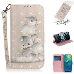 Three Squirrels 3D Painted Leather Wallet Phone Case for Huawei Mate 20