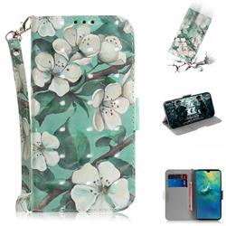 Watercolor Flower 3D Painted Leather Wallet Phone Case for Huawei Mate 20