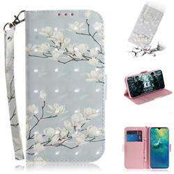 Magnolia Flower 3D Painted Leather Wallet Phone Case for Huawei Mate 20