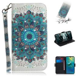 Peacock Mandala 3D Painted Leather Wallet Phone Case for Huawei Mate 20