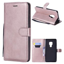 Retro Greek Classic Smooth PU Leather Wallet Phone Case for Huawei Mate 20 - Rose Gold