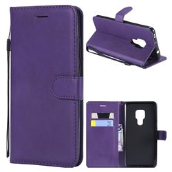 Retro Greek Classic Smooth PU Leather Wallet Phone Case for Huawei Mate 20 - Purple