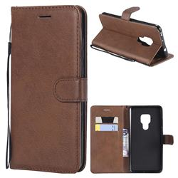 Retro Greek Classic Smooth PU Leather Wallet Phone Case for Huawei Mate 20 - Brown
