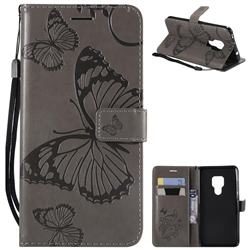 Embossing 3D Butterfly Leather Wallet Case for Huawei Mate 20 - Gray