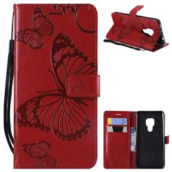 Embossing 3D Butterfly Leather Wallet Case for Huawei Mate 20 - Red