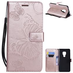 Embossing 3D Butterfly Leather Wallet Case for Huawei Mate 20 - Rose Gold