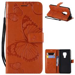 Embossing 3D Butterfly Leather Wallet Case for Huawei Mate 20 - Orange