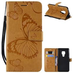Embossing 3D Butterfly Leather Wallet Case for Huawei Mate 20 - Yellow