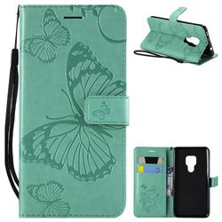 Embossing 3D Butterfly Leather Wallet Case for Huawei Mate 20 - Green