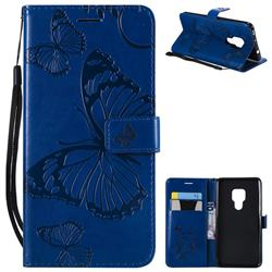 Embossing 3D Butterfly Leather Wallet Case for Huawei Mate 20 - Blue
