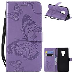 Embossing 3D Butterfly Leather Wallet Case for Huawei Mate 20 - Purple