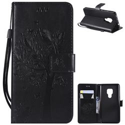 Embossing Butterfly Tree Leather Wallet Case for Huawei Mate 20 - Black
