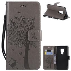 Embossing Butterfly Tree Leather Wallet Case for Huawei Mate 20 - Grey