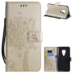 Embossing Butterfly Tree Leather Wallet Case for Huawei Mate 20 - Champagne