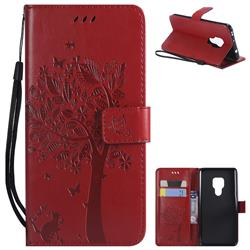 Embossing Butterfly Tree Leather Wallet Case for Huawei Mate 20 - Red