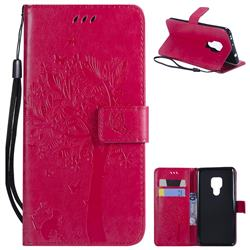 Embossing Butterfly Tree Leather Wallet Case for Huawei Mate 20 - Rose