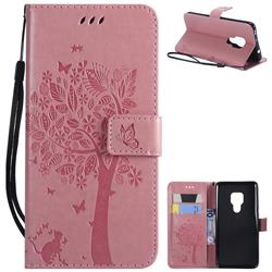 Embossing Butterfly Tree Leather Wallet Case for Huawei Mate 20 - Pink