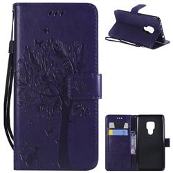Embossing Butterfly Tree Leather Wallet Case for Huawei Mate 20 - Purple