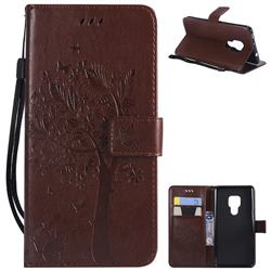 Embossing Butterfly Tree Leather Wallet Case for Huawei Mate 20 - Coffee