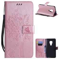 Embossing Butterfly Tree Leather Wallet Case for Huawei Mate 20 - Rose Pink