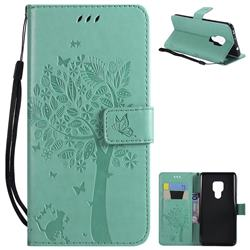 Embossing Butterfly Tree Leather Wallet Case for Huawei Mate 20 - Cyan