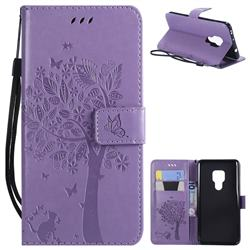 Embossing Butterfly Tree Leather Wallet Case for Huawei Mate 20 - Violet