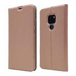 Ultra Slim Card Magnetic Automatic Suction Leather Wallet Case for Huawei Mate 20 - Rose Gold