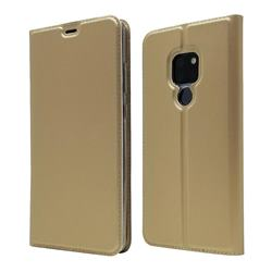 Ultra Slim Card Magnetic Automatic Suction Leather Wallet Case for Huawei Mate 20 - Champagne