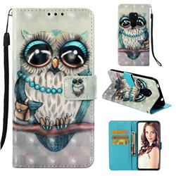 Sweet Gray Owl 3D Painted Leather Wallet Case for Huawei Mate 20