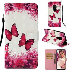 Rose Butterfly 3D Painted Leather Wallet Case for Huawei Mate 20