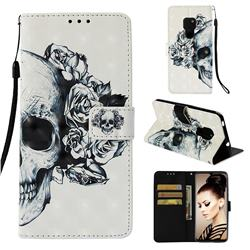 Skull Flower 3D Painted Leather Wallet Case for Huawei Mate 20