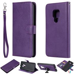 Retro Greek Detachable Magnetic PU Leather Wallet Phone Case for Huawei Mate 20 - Purple