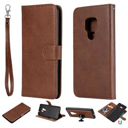 Retro Greek Detachable Magnetic PU Leather Wallet Phone Case for Huawei Mate 20 - Brown
