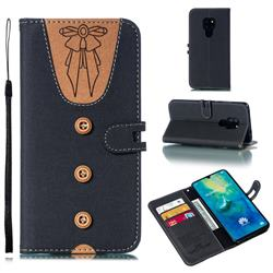 Ladies Bow Clothes Pattern Leather Wallet Phone Case for Huawei Mate 20 - Black
