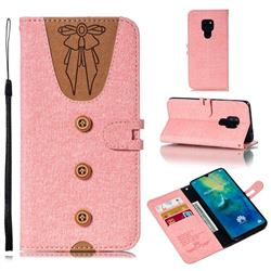 Ladies Bow Clothes Pattern Leather Wallet Phone Case for Huawei Mate 20 - Pink