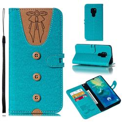 Ladies Bow Clothes Pattern Leather Wallet Phone Case for Huawei Mate 20 - Green