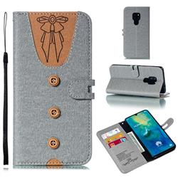 Ladies Bow Clothes Pattern Leather Wallet Phone Case for Huawei Mate 20 - Gray