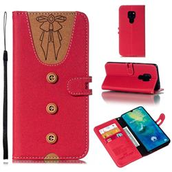 Ladies Bow Clothes Pattern Leather Wallet Phone Case for Huawei Mate 20 - Red