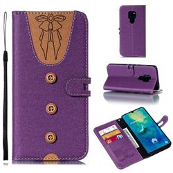 Ladies Bow Clothes Pattern Leather Wallet Phone Case for Huawei Mate 20 - Purple