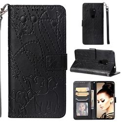 Embossing Fireworks Elephant Leather Wallet Case for Huawei Mate 20 - Black
