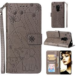 Embossing Fireworks Elephant Leather Wallet Case for Huawei Mate 20 - Gray