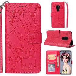 Embossing Fireworks Elephant Leather Wallet Case for Huawei Mate 20 - Red