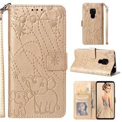 Embossing Fireworks Elephant Leather Wallet Case for Huawei Mate 20 - Golden