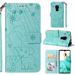 Embossing Fireworks Elephant Leather Wallet Case for Huawei Mate 20 - Green