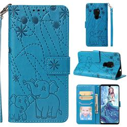 Embossing Fireworks Elephant Leather Wallet Case for Huawei Mate 20 - Blue