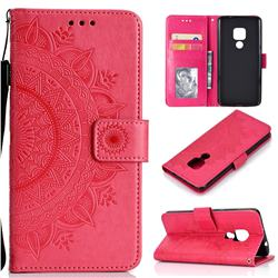 Intricate Embossing Datura Leather Wallet Case for Huawei Mate 20 - Rose Red